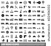100 road icons set in simple... | Shutterstock .eps vector #602406332