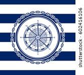 sea emblem on a striped marine... | Shutterstock .eps vector #602416106
