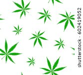 seamless pattern with cannabis... | Shutterstock .eps vector #602419052