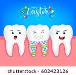 funny cute cartoon tooth... | Shutterstock .eps vector #602423126
