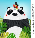 a poster with a panda. a... | Shutterstock .eps vector #602429918