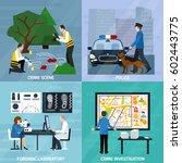 crime investigation flat design ... | Shutterstock .eps vector #602443775