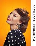 girl portrait on yellow... | Shutterstock . vector #602446376