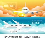 passenger airplane at sunset... | Shutterstock .eps vector #602448068