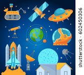 space icons set flat style... | Shutterstock .eps vector #602450306