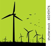 green windmills. | Shutterstock .eps vector #60245476