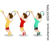 set of young tennis player.... | Shutterstock .eps vector #602457896