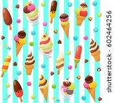 sweet ice cream seamless... | Shutterstock .eps vector #602464256