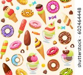 sweet candies seamless pattern... | Shutterstock .eps vector #602464448