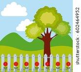 beautiful garden with flowers... | Shutterstock .eps vector #602464952