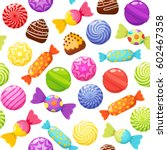 sweet candies seamless pattern... | Shutterstock .eps vector #602467358