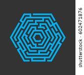 hexagon maze  labyrinth icon.... | Shutterstock .eps vector #602471876
