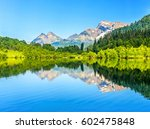 mountain forest lake reflection | Shutterstock . vector #602475848