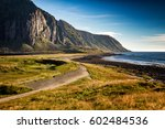 fjord  at sunset. rocky beach... | Shutterstock . vector #602484536