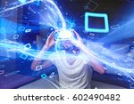 young man with headset playing... | Shutterstock . vector #602490482
