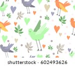 bright birds seamless pattern | Shutterstock .eps vector #602493626
