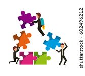 people with jigsaw puzzles over ... | Shutterstock .eps vector #602496212