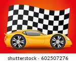 yellow car and checkered flag. | Shutterstock .eps vector #602507276