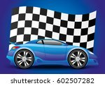 blue car and checkered flag. | Shutterstock .eps vector #602507282