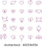 conceptual hearts pink outline...   Shutterstock .eps vector #602536556