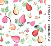 pear fruits seamless pattern.... | Shutterstock .eps vector #602540198