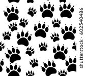 cat or dog paw seamless pattern ...   Shutterstock .eps vector #602540486