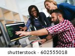 programmers cooperating at  it... | Shutterstock . vector #602555018