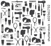 hairdressers tools seamless... | Shutterstock .eps vector #602561732