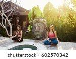 young women practicing yoga... | Shutterstock . vector #602570342