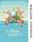 happy easter card. vector... | Shutterstock .eps vector #602573936