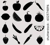 vegetables  fruits and berries  ... | Shutterstock .eps vector #602574896