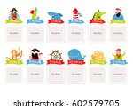 photo frame with cartoon... | Shutterstock .eps vector #602579705