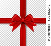 red gift ribbon and bow. | Shutterstock .eps vector #602583242