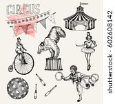 retro circus performance set... | Shutterstock .eps vector #602608142