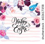 happy easter greeting card... | Shutterstock .eps vector #602617358