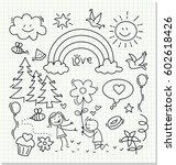 children's drawing on paper | Shutterstock .eps vector #602618426
