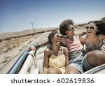 three young people in a pale... | Shutterstock . vector #602619836