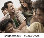 six young people partying ... | Shutterstock . vector #602619926