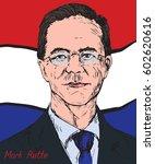 mark rutte  dutch politician ...   Shutterstock .eps vector #602620616