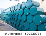 oil barrels green or chemical... | Shutterstock . vector #602620736