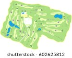 generic 18 hole golf course map | Shutterstock .eps vector #602625812