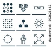 set of 9 ai algorithm machine...   Shutterstock .eps vector #602628662