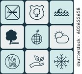 set of 9 ecology icons.... | Shutterstock .eps vector #602632658