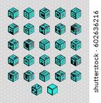 cubic alphabet set. geometric... | Shutterstock . vector #602636216