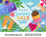 summer sale banner template for ... | Shutterstock .eps vector #602643536