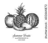 mixed fruits hand drawn... | Shutterstock .eps vector #602664872