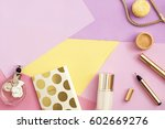 beauty products and accessories ... | Shutterstock . vector #602669276