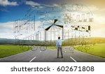 young businessman on crossroads ...   Shutterstock . vector #602671808