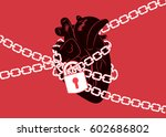 anatomical human heart wrapped... | Shutterstock .eps vector #602686802