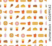vector pattern with fast food... | Shutterstock .eps vector #602699162